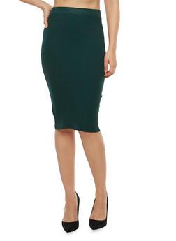 Rib Knit Midi Skirt - 3097038348455