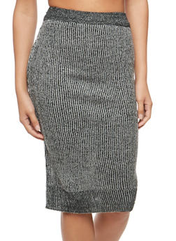 Two Tone Knit Pencil Skirt - 3097038348480
