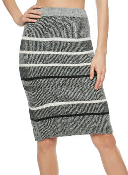 Two Toned Rib Knit Striped Pencil Skirt - 3097038348481