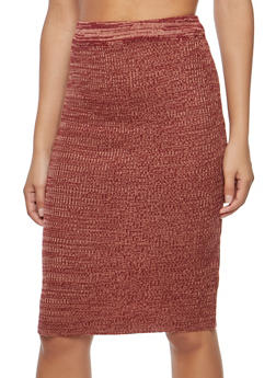 Two Tone Knit Pencil Skirt - 3097038348482