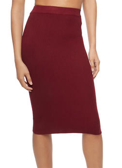 Rib Knit Pencil Skirt - 3097038349451