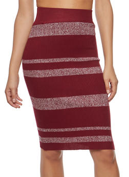 Striped Sweater Knit Pencil Skirt - 3097038349452