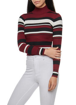 Striped Turtleneck Sweater - 3097038349454