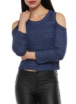 Two Tone Knit Cold Shoulder Sweater - 3097038349482