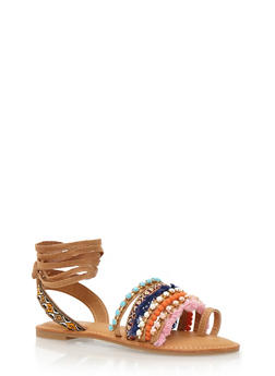 Lace-Up Sandals with Embroidery and Crystals - 3110004062536