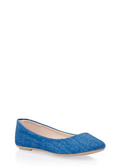 Flats with Round Toes - BLUE DENIM - 3110004062968