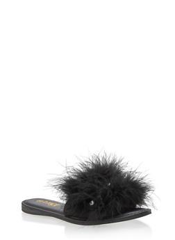 Furry Rhinestone Slide Sandals - 3110004064285