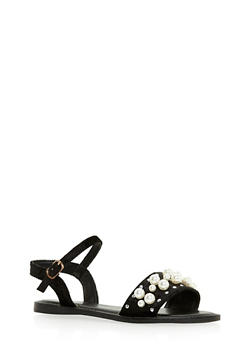 Pearl Studded Ankle Strap Sandals - 3110004064288
