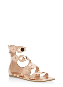 Strappy Sandal with Metal Accents - ROSE GOLD PATENT - 3110004064289