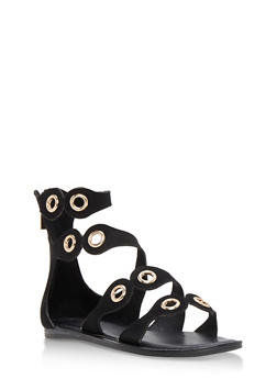 Strappy Sandal with Metal Accents - BLACK F/S - 3110004064289