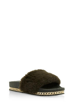 Faux Fur Slides with Chain Link Trim - OLIVE - 3110004064655