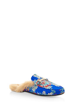 Faux Fur Lined Flat Mule - BLUE FABRIC - 3110004065226