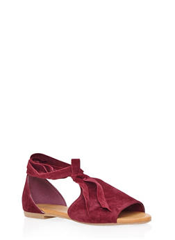 Open-Toe Sandals with Ankle Ties - 3110004065356