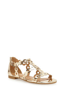 Metallic Strappy Circle Punch Sandals - GOLD PATENT - 3110004066229