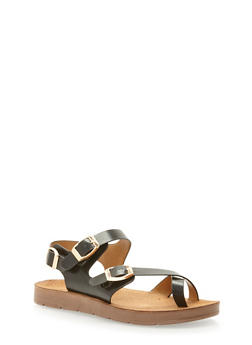 Faux Leather Toe Ring Footbed Sandals - BLACK PU - 3110004066302