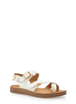 Faux Leather Toe Ring Footbed Sandals - WHITE PU - 3110004066302