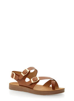 Faux Leather Toe Ring Footbed Sandals - CHESTNUT PU - 3110004066302