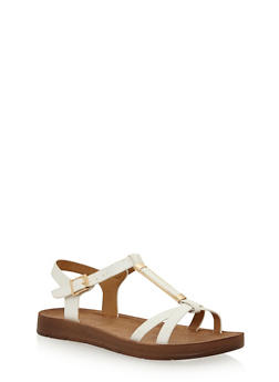 Faux Leather T Strap Sandals with Metal Detail - WHITE PU - 3110004066303