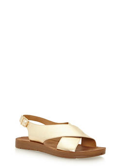 Cross Strap Faux Leather Sandals - GOLD PU - 3110004066304