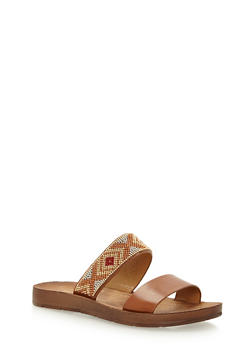 Aztec Beaded Double Strap Slide Sandals - 3110004066305