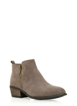 Almond-Toe Ankle Boots with Side Zip Accents - 3110004067234