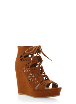 Faux Suede Platform Wedges wiuth Lace-Up Front - 3110004067276