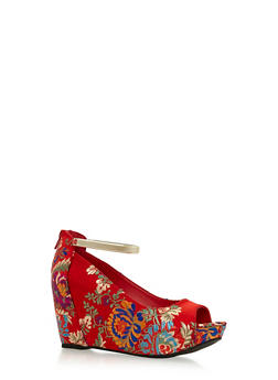 Open Toe Ankle Strap Wedges - 3110004067279