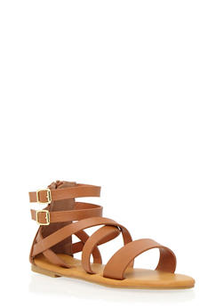 Faux Leather Sandals with Metallic Side Buckles - 3110004067304