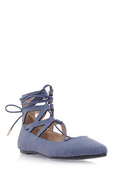 Lasercut Faux Suede Flats with Ankle Ties - 3110004067380