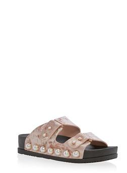 Faux Pearls Double Strap Slide Sandals - MAUVE VELVET - 3110004067421