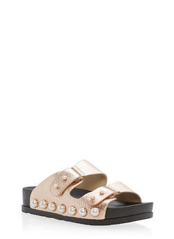 Faux Pearls Double Strap Slide Sandals - GOLD - 3110004067421
