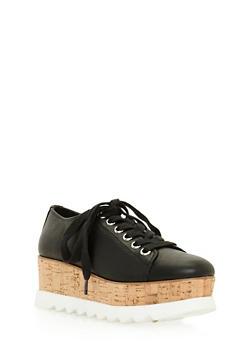 Lace Up Shoe with Corkscrew Platform Detail - 3110004067594