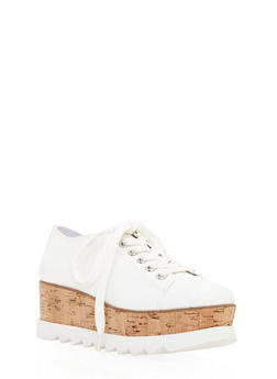 Lace Up Shoe with Corkscrew Platform Detail - WHITE CRP - 3110004067594