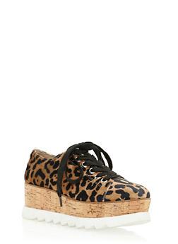 Lace Up Shoe with Corkscrew Platform Detail - LEOPARD VELVET - 3110004067594