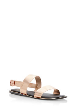 Metallic Double Strap Sandals - 3110004067850