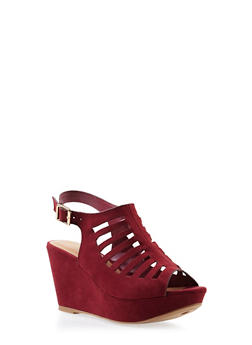Faux Suede Platform Wedges with Geometric Lasercuts - 3110004068362
