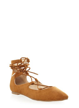 Lace Up Ballet Flat with Brushed Faux Suede - 3110004068454