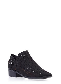Perforated Faux Suede Ankle Bootie with Buckle - 3110004068584