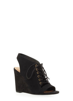 Faux Suede Open-Toe Wedges with Lace-Up Front - 3110004069462