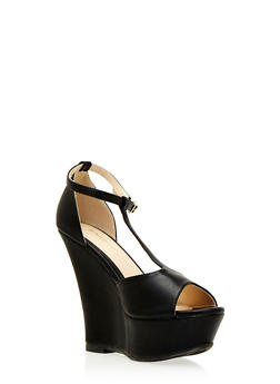 Faux Leather Platform T-Strap Wedges with Open Toes - 3110014067667