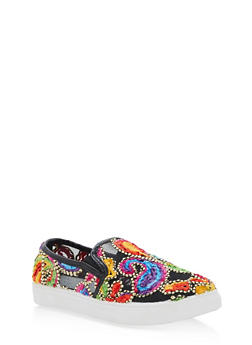 Embroidered Slip On Sneakers - BLACK - 3110029546284