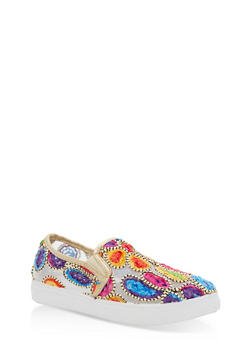 Embroidered Slip On Sneakers - ROSE GOLD - 3110029546284