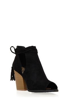 Faux Suede Ankle Boots with Side Cutouts - 3110029912275