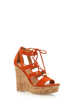 Faux Suede Platform Wedges with a Cork Wedge - 3110029912536