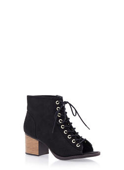 Perforated Faux Suede Ankle Boots with Open Toes - 3110029913494