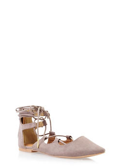 Faux Suede Pointed-Toe Sandals with Front Laces - 3110029917870