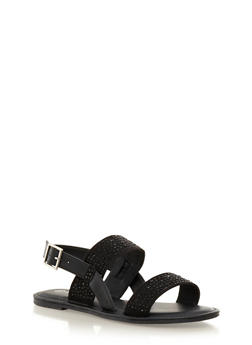 Buckle Sandals With Double Rhinestone Straps - 3110040520114