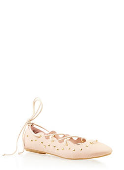 Studded Flats with Lace-Up Design and Snakeskin-Embossing - 3110049545264