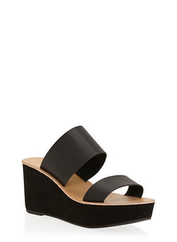 Double Strap Wedge Slide Sandals - 3110056636570