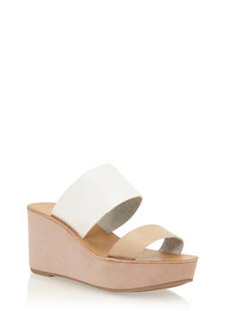 Double Strap Wedge Slide Sandals - NATURAL/WHITE - 3110056636570